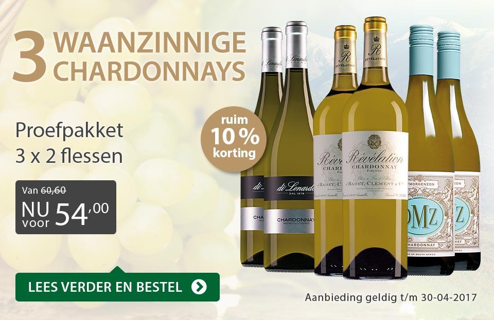 Proefpakket drie waanzinnige Chardonnays - grijs/goud
