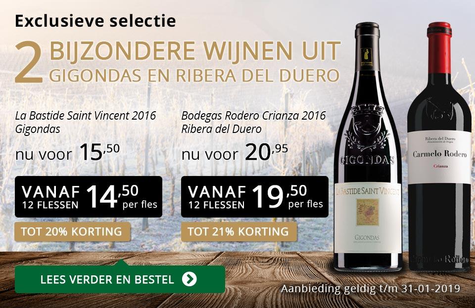 Twee bijzondere wijnen januari 2019 - goud/zwart