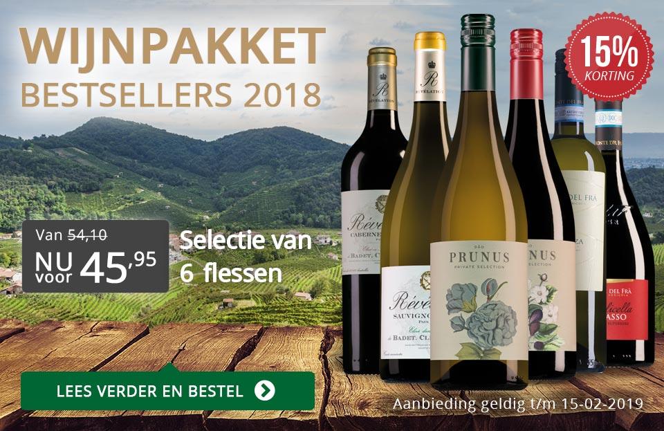 Wijnpakket bestsellers 2018 met knallende korting - grijs/goud