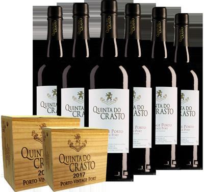 6 flessen Quinta do Crasto Vintage Port in 2 houten kisten
