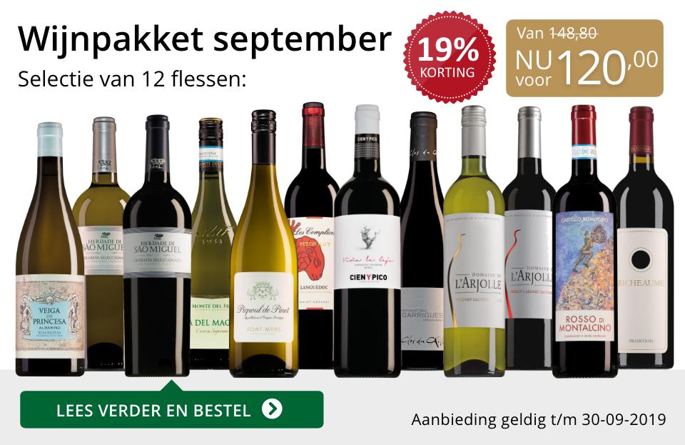 Wijnpakket wijnbericht september 2019 (120,00)- goud/zwart
