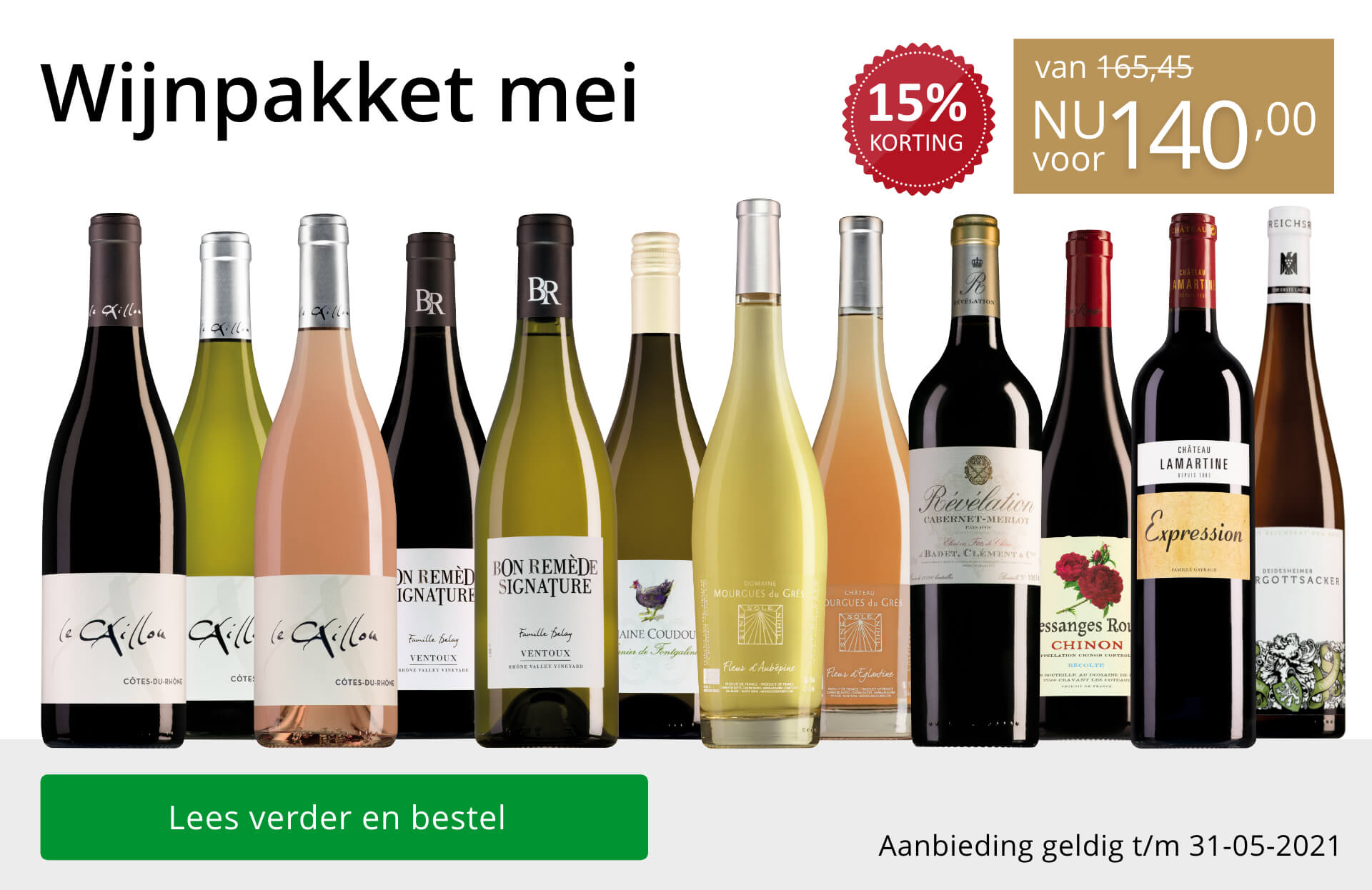 Wijnpakket wijnbericht mei 2021 (140,00) - goud/zwart